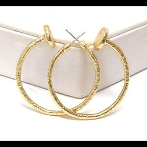 Texture Nail Head Gold Hoops Earrings